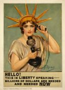 "Vintage War Poster ""Hello! This is Liberty speaking."" 1918"